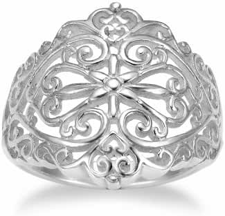 925 Sterling Silver 18 mm Floral Filigree Victorain Style Polish Finished Ring
